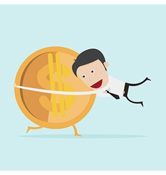 Businessman hugging money vector image