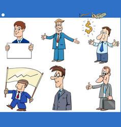 cartoon funny businessmen characters set vector image