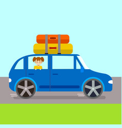 cartoon journey concept in blue car vector image