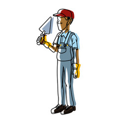 cartoon worker with tool vector image
