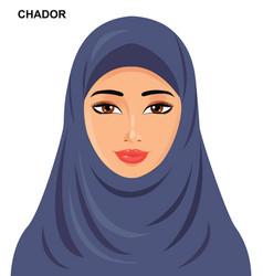 Chador headgear style beautiful vector