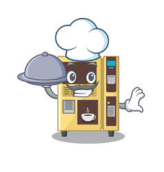 Chef with food coffee vending machine in a vector