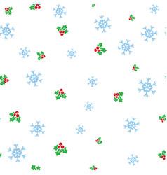 christmas mistletoe and snowflake seamless pattern vector image