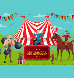 circus show performers and trained animals vector image
