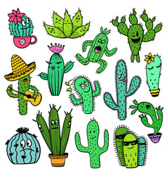 Colorful set of funny cactus characters vector
