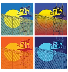 colorful watchtower vector image