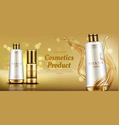 Cosmetics beauty product bottles mockup banner vector