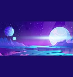 Cosmic background alien planet deserted landscape vector