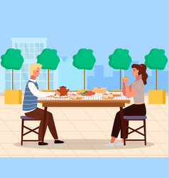Couple is eating russian food outside young vector