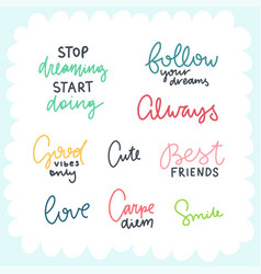 Cute lettering collection vector