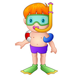 Cute little boy cartoon snorkeling vector