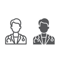 doctor line and glyph icon medicine vector image