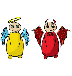 Drawn colored angel and devil vector