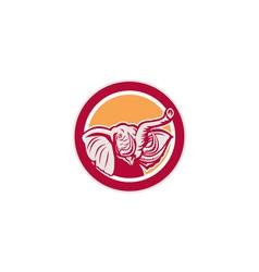 Elephant Head Tusk Circle Retro vector