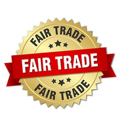 Fair trade 3d gold badge with red ribbon vector