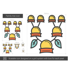 Family tree line icon vector