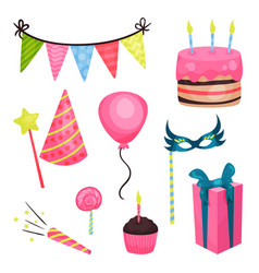 flat birthday party elements triangle vector image