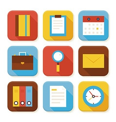 Flat Business and Office Squared App Icons Set vector image