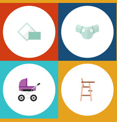 flat icon kid set of child chair stroller nappy vector image