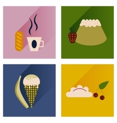 Flat icons collection with shadow sweet desserts vector