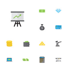Flat icons finance sack accounting computer and vector