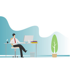 flat modern office with businessman sitting vector image