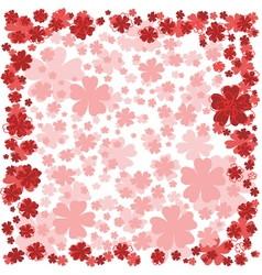 Floral frame with pink and red flowers on white vector image