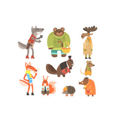 Forest animals dressed in human clothes set of vector