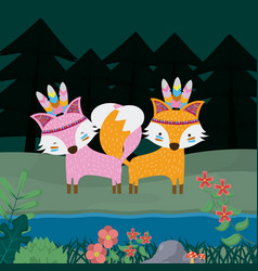 Foxes cute hippie cartoon vector
