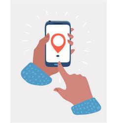 geolocation logo on smartphone screen in hand vector image