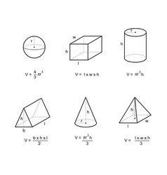 Geometry area and volume formulas vector