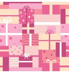 Gift boxes seamless pattern background vector image