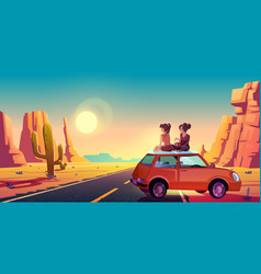Girlfriends on car roadmire beautiful sunset vector