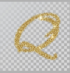 Gold glitter powder letter q in hand painted style vector