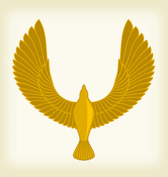 Golden bird in ancient egipt style simple and vector