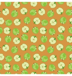 Green apple pattern on brown background vector