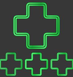 Green line plus logo design set vector