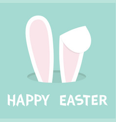 Happy easter bunny ears rabbit hole hidden head vector