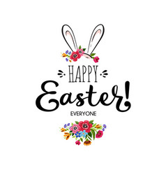Happy easter card with letteringflower and rabbit vector