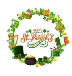 happy patricks day shamrocks flag cookies frame vector image