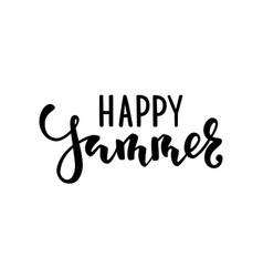 Happy summer hand drawn calligraphy and brush pen vector