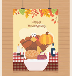 happy thanksgiving poster hanging turkey pumpkin vector image