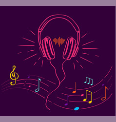 headphones performing loud sounds doodles vector image