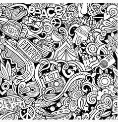 Hippie hand drawn doodles seamless pattern hippy vector