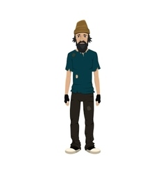 Homeless skinny shaggy man vector