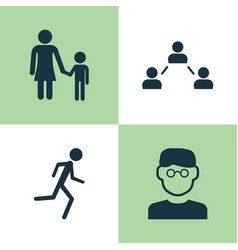 human icons set collection of network running vector image