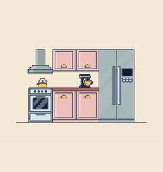 interior of kitchen room kitchenware vector image