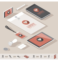 Isometric branding mock-up vector