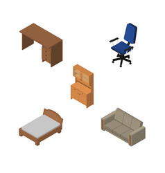 Isometric design set of cupboard office couch vector