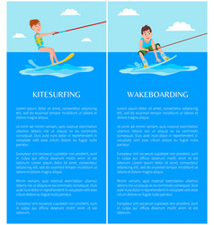 Kitesurfing and wakeboarding vector